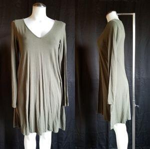 Express Army Green Swing Dress Medium